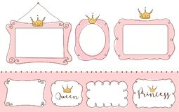 Free Set Of Cute Doodle Mirrors. Princess Element Of Design. Pink Frames With Crown, Tiara. Royalty Free Stock Images - 110875569