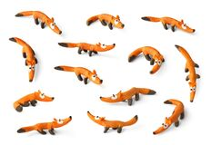 Free Set Of Cute Foxs Made Of Plasticine Isolated On White Background. Royalty Free Stock Photography - 189922067