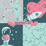 Set Of Cute Hand Drawn Card And Seamless Patterns For Valentine&x27;s Day Design Royalty Free Stock Photos
