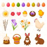 Set Of Cute Happy Easter Icons Royalty Free Stock Photos