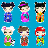 Set Of Cute Kokeshi Dolls Royalty Free Stock Image