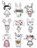 Set Of Cute Stylish Rabbits Royalty Free Stock Photography