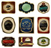 Set Of Decorative Color Gold Frames Labels Royalty Free Stock Photos