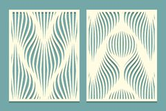 Set Of Decorative Panels For Cutting Paper Cards, Design Elements, Scrapbooking And Other. Geometric Wavy Line Pattern. Laser Cut Royalty Free Stock Photography
