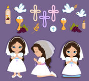 Set Of Design Elements For First Communion For Girls Stock Photo