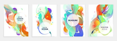 Free Set Of Designs For Flyer, Broshure, Book`s Cover, Poster, Web, Annual Report Royalty Free Stock Image - 147035106