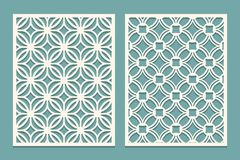 Set Of Die Cut Card. Laser Cutting Panels. Cutout Silhouette With Geometric Pattern. Ornament Suitable For Printing, Engraving, La Stock Photography