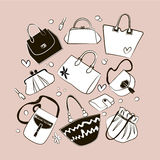 Set Of Different Bags, Clutches, Purses Handbags Royalty Free Stock Images