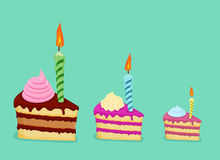 Free Set Of Different Cake Slices. For Birthday Card Stock Images - 50988854