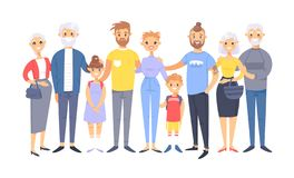 Free Set Of Different Caucasian Couples And Families. Cartoon Style People Of Different Ages Young And Elderly, With Baby, Boy, Girl Royalty Free Stock Photo - 139343875