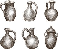 Set Of Different Clay Jugs Stock Photo