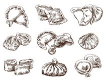 Set Of Different Dumplings Royalty Free Stock Images