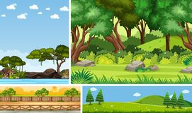 Free Set Of Different Nature Place Scene In Vertical And Horizon Scenes At Daytime Royalty Free Stock Photos - 190084468