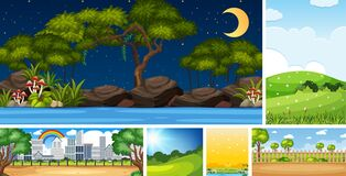 Free Set Of Different Nature Place Scene In Vertical And Horizon Scenes At Daytime And Night Stock Image - 189047761