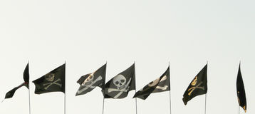 Set Of Different Pirate Flags Royalty Free Stock Photo