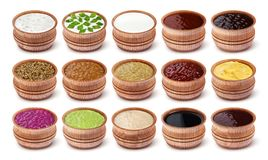Set Of Different Sauces Isolated On White Background Stock Photo
