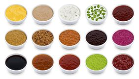 Set Of Different Sauces Isolated On White Background Royalty Free Stock Photos
