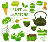 Free Set Of Different Tea Products Of The Matcha. Matcha Powder, Macarons, Ice Cream, Cake, Bamboo Spoon, Teapot, Drink, Sweets,tea, Te Royalty Free Stock Photography - 154265057