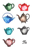 Set Of Different Teapots. Royalty Free Stock Images