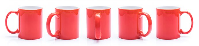 Set Of Different Views Of Red Cup Stock Image