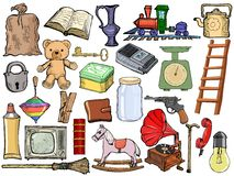 Set Of Different Vintage Objects Stock Photography
