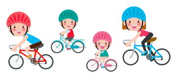 Free Set Of Diverse Family Riding Bikes Isolated On White Background. Happy Family Riding Bikes, Sports Family Concept Vector Royalty Free Stock Images - 169899829