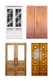 Set Of Double Wooden Doors Over White Stock Photography