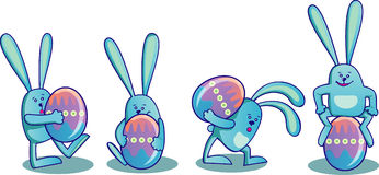 Set Of Easter Rabbits With Easter Eggs Stock Images