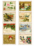 Set Of Eight Vintage Christmas Bird Holly Stamps Royalty Free Stock Photo