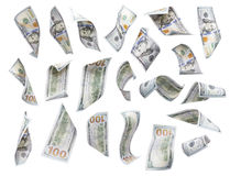 Set Of Falling Or Floating $100 Bills Each Isolated Royalty Free Stock Images