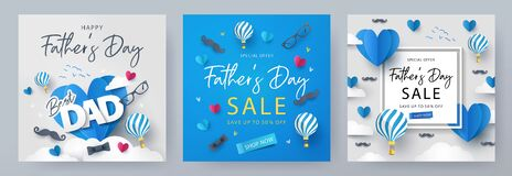 Free Set Of Fathers Day Greeting Cards In Modern Paper Cut Style. Fathers Day Holiday Illustration For Greeting Banner, Fashion Ads Royalty Free Stock Photo - 181668225