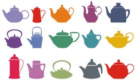 Free Set Of Fifteen Colorful Vector Teapots Stock Image - 13891381