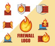 Set Of Firewall Logo. Protection Logo. Cyber Security Emblem. Stock Image