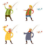 Set Of Fishermans Royalty Free Stock Images