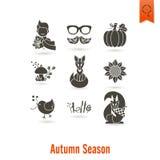 Set Of Flat Autumn Icons Royalty Free Stock Photography