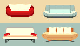 Set Of Flat Colorful Sofas Stock Photography