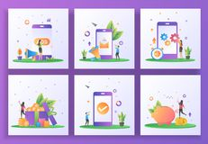Free Set Of Flat Design Concept. Advertising, Digital Marketing, Mobile App Update, Earn Point, Application Check, Saving Money. Can Royalty Free Stock Image - 165665926