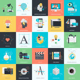 Set Of Flat Design Style Icons For Graphic And Web Design Stock Images