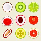 Set Of Flat Fruit And Vegetables. Colored Simple Icons On Blank Background. Logo Design Template, Food Store Design Royalty Free Stock Photo