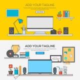 Set Of Flat Line Banner Design Concept Stock Image
