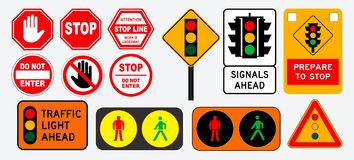 Free Set Of Flat Traffic Light And Stop Sign. Stock Photos - 136785013