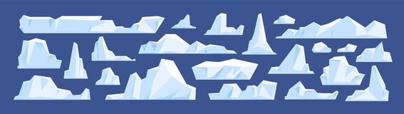 Free Set Of Floating Glacier, Iceberg In North Sea Or Arctic Ocean. Melting Ice Peak, Rocks In Antarctica. Natural Icy Royalty Free Stock Images - 193354639