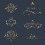 Set Of Floral Monograms And Borders. Stock Photo