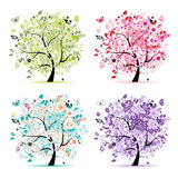 Set Of Floral Trees Beautiful For Your Design Royalty Free Stock Image