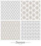 Set Of Flourishes Seamless Pattern Backgrounds. Royalty Free Stock Images