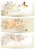 Set Of Flower Hand Drawn Backgrounds Stock Photo