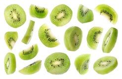 Free Set Of Flying Cut Fresh Juicy Kiwi On White Royalty Free Stock Photography - 150673877