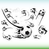 Set Of Flying Soccer Balls. Royalty Free Stock Image