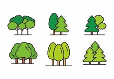 Free Set Of Forest Icon With Outline Style. Forest Icon Vector Illustration Stock Photography - 145515982