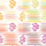 Set Of Four Floral Seamless Patterns With Horizontal Watercolor Stripes Stock Photos